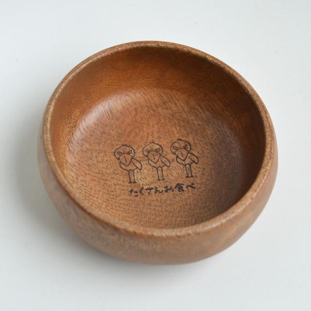 木製お菓子小皿「たくさんお食べ」★ハシビロコウ