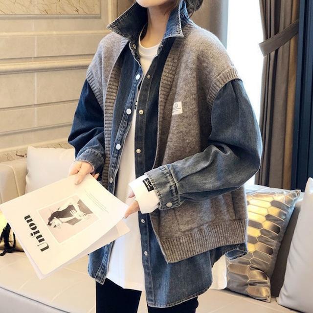 【アウター】二点 絶対流行ファッション カジュアル POLOネック 切り替え シングルブレスト ジャケット-1-53905467