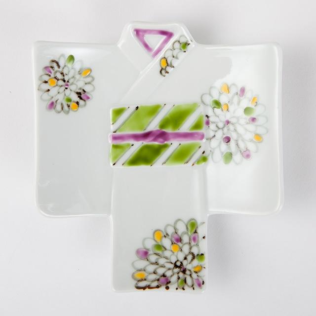 色絵菊  着物銘々皿[徳七窯]