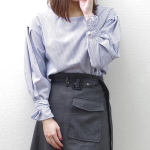 【即納】スライプシャツ(ブルー) ドロップショルダー オールシーズン トップス デザイン