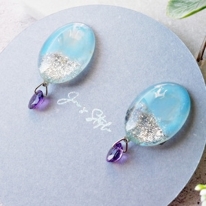 """ Earrings NO.0-1502 ″ ブルーペイント&宝石アメジスト"