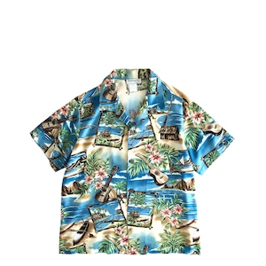 Bishop st レディース&ボーイズ アロハシャツ / ukulele blue