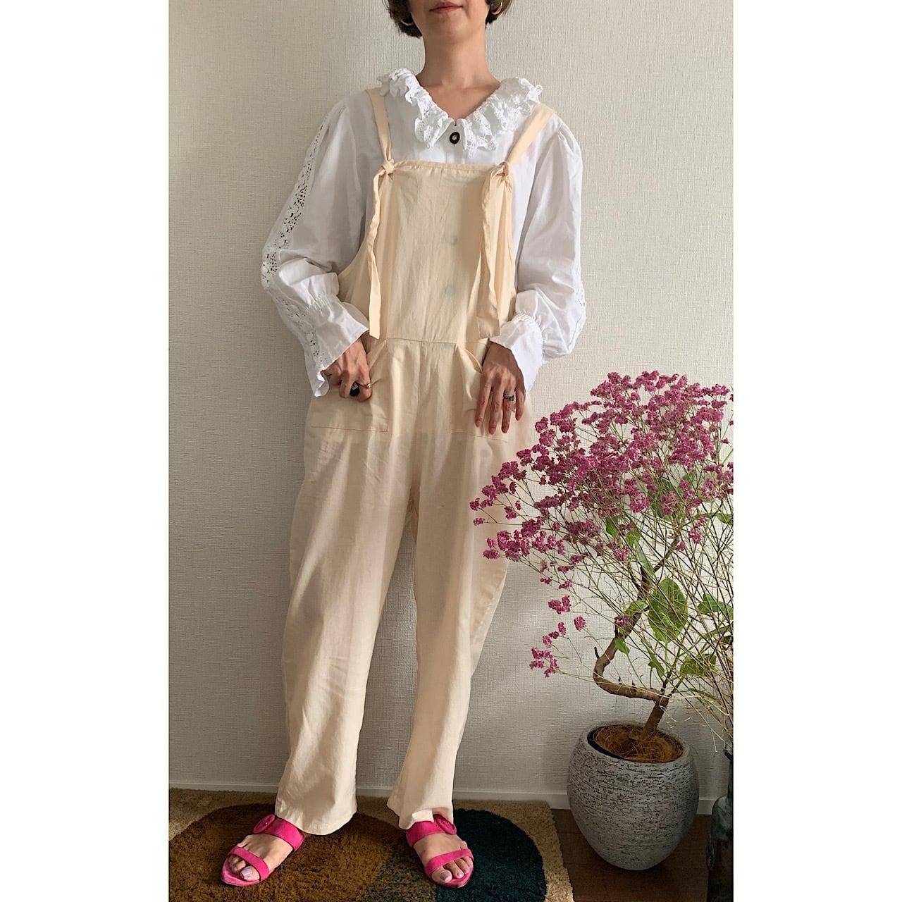 【送料無料】 90's cream color jumpsuit(90年代 クリーム ジャンプスーツ)