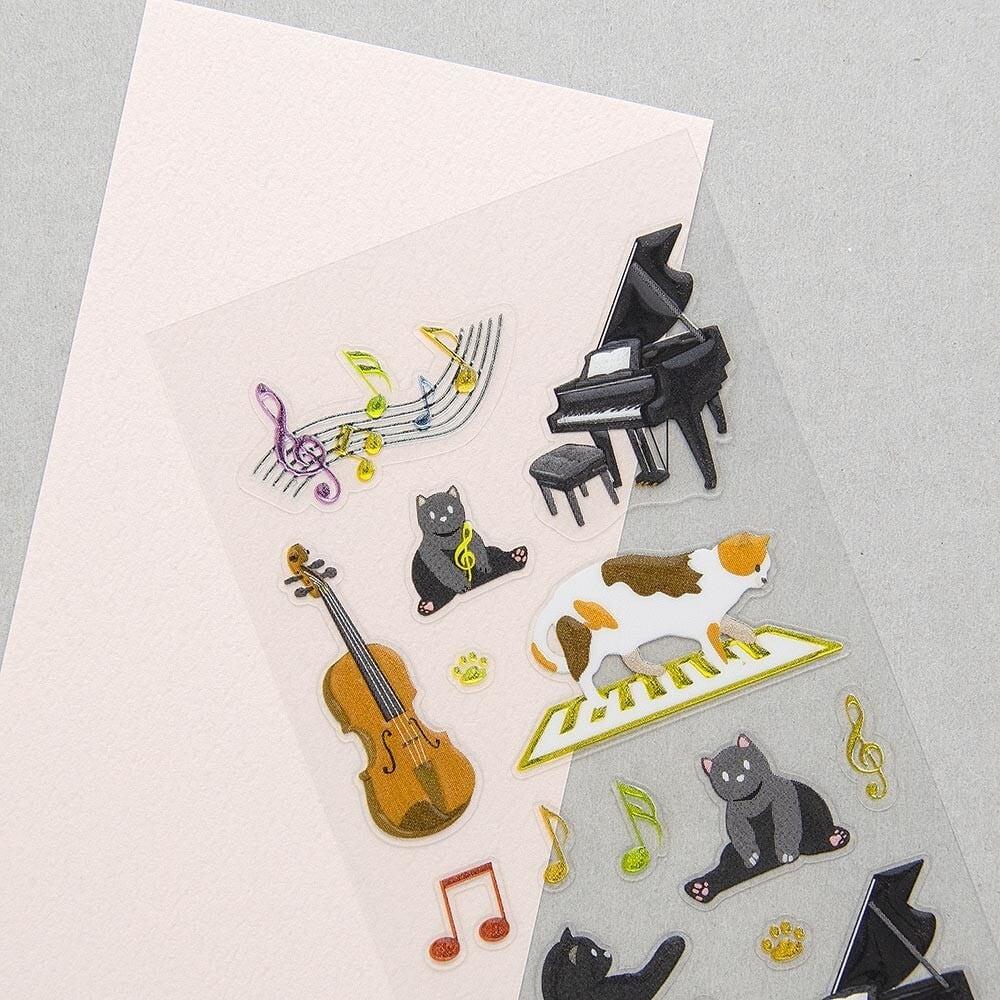 シール ビジュ 音楽と猫