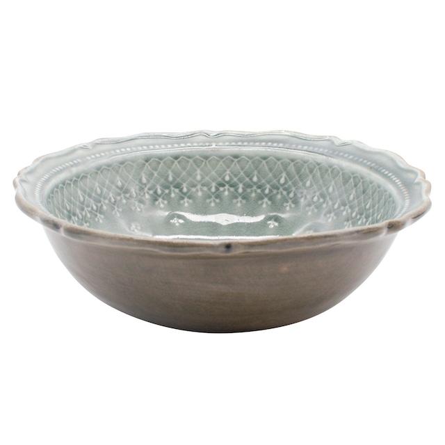 益子焼 わかさま陶芸 「フレンチレース」 ボウル 鉢 皿 L 約22cm グレー 255954