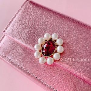 Liquem / ポートレート・ウォレット(ピンク/スカーレット)