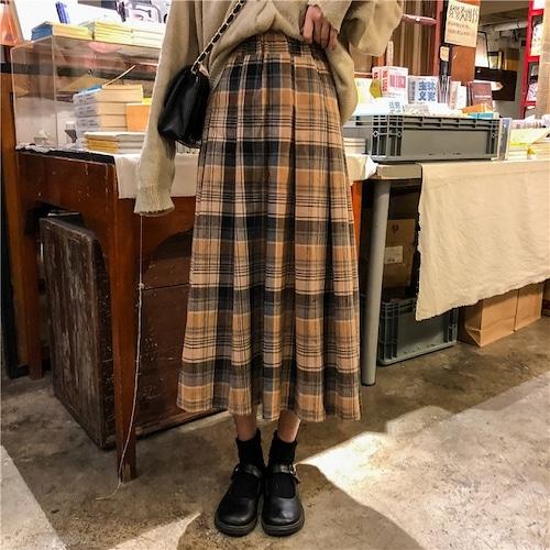 Aラインチェックロングスカート #RD1232