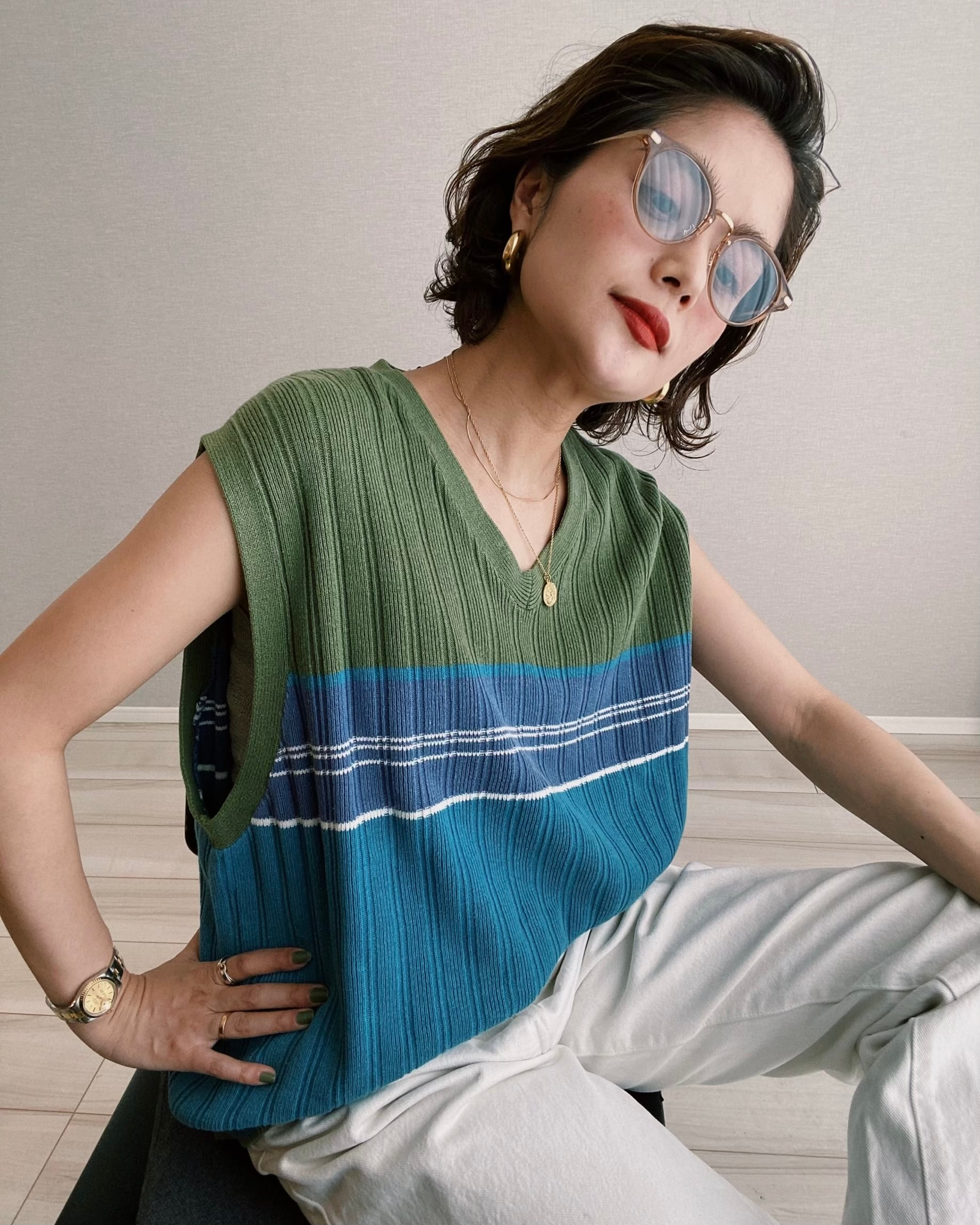 (KN146)90's Old GAP knit best