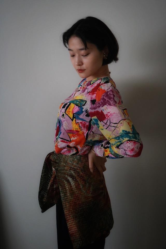 Vintage pattern silk tops