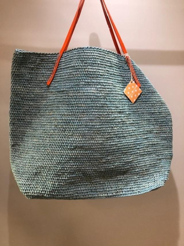 Sans Arcidet (サンアルシデ)BEBY BAG  L  Handle: C ラフィアトートバッグLサイズ エナメルハンドル マダガスカル製