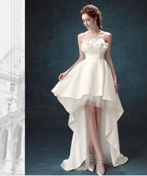 フィッシュテールロングドレス チューブトップ ウエディング レース フラワ ー結婚式 二次会 パーティー wb020