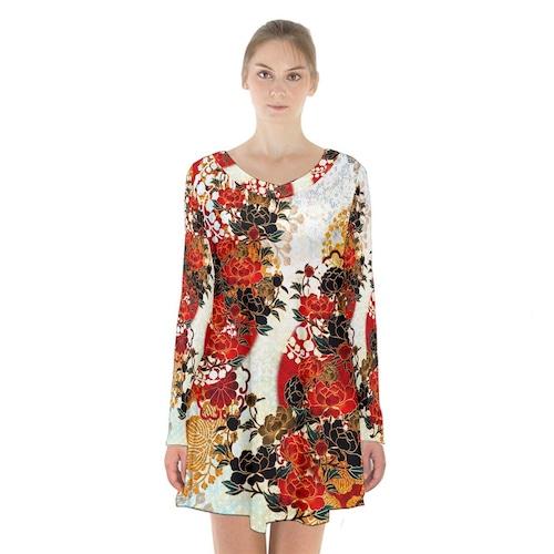 牡丹家紋 紅白 Aラインフレアドレス