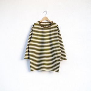 one f × 4ROOM HB Border Tee OLIVE / NATURAL 再入荷