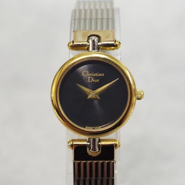 Christian Dior ディオール 3025 SS クォーツ ネイビー文字盤 腕時計 レディース