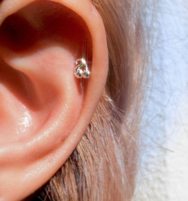 cherry body earring straight silver925 16G #LJ21058P  14G #LJ21059P