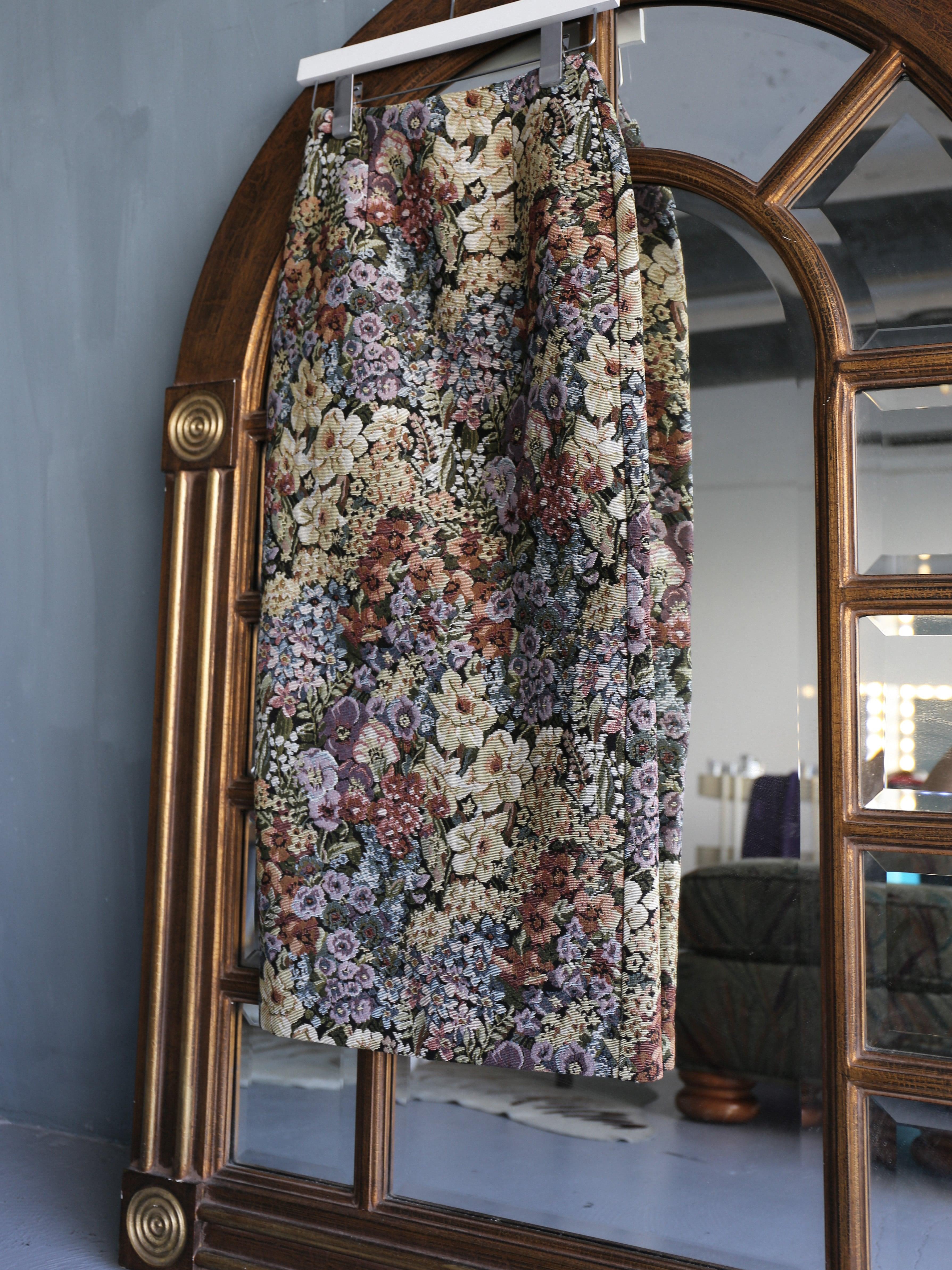 flower jacquard long skirt(multi color)