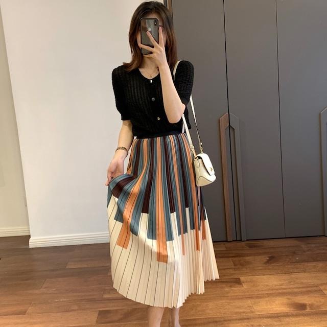 オルガン柄プリーツスカート 2色 【210356】 大きいサイズあり