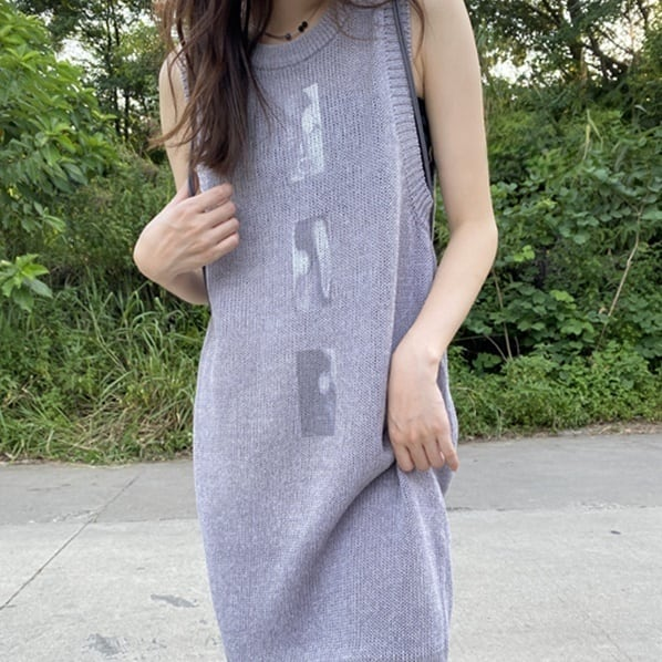 Print long knit one-piece (プリントロングニットワンピース)b-457
