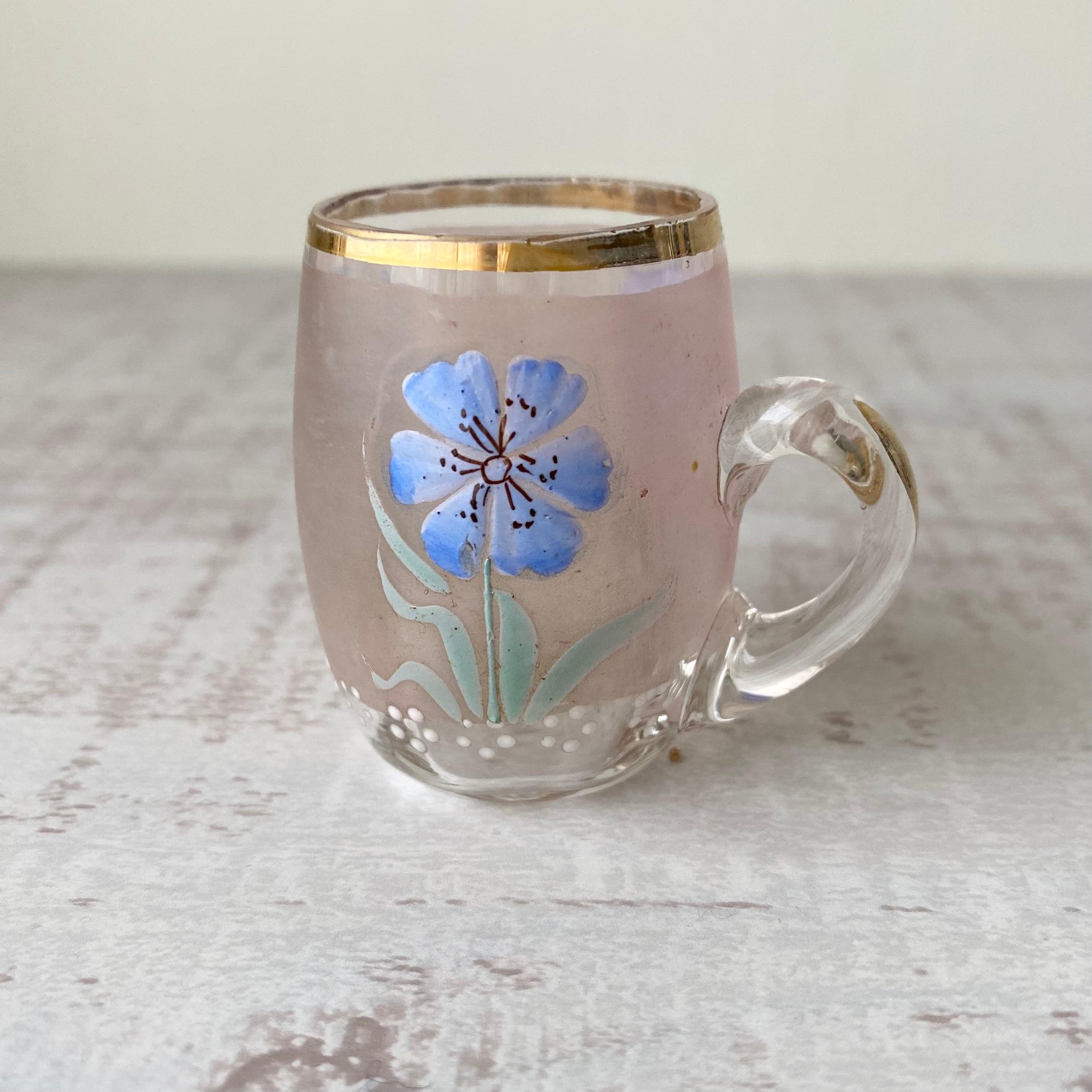 France アンティーク・エナメル花柄ミニグラスc / uv0150