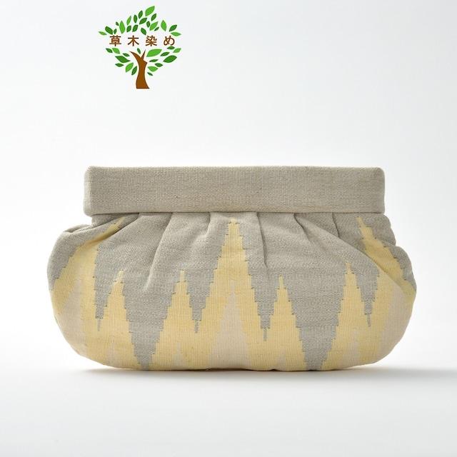 草木染め手織りクラッチL  イエロー