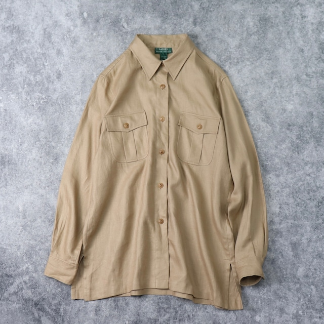 """1990s   """" RALPH LAUREN """" L/S   LINEN   Shirts   XL A276"""