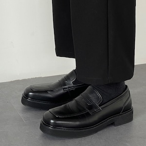 Matte black leather shoes   a-440