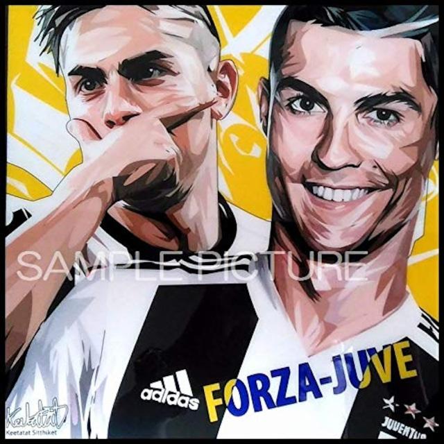 サッカーグラフィックアートパネル Cロナウド & ディバラ ユベントスFC 木製 壁掛け ポスター (001-205)