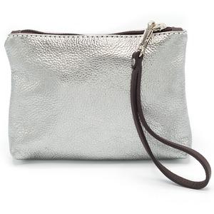 イタリア製 化粧ポーチ バッグインバッグ シルバー