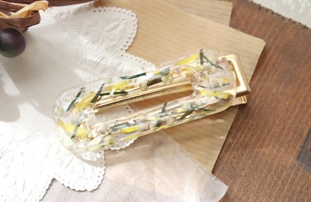 ドライフラワーとビジューを使った花の髪飾り / ヘアピン・クリップ(グリーン)(イエロー)