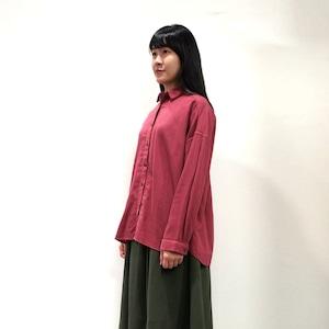 [ボタニカルダイ][サンザシ染]ソフトな綿麻ゆったりシャツ 8514-01014-79