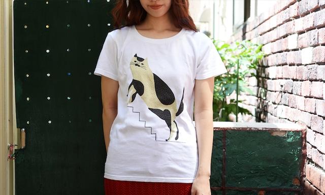 Tシャツ「階段と猫」