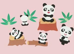 パンダの壁面装飾