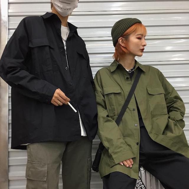【トップス】ストリート系シンプル無地シャツ43009283