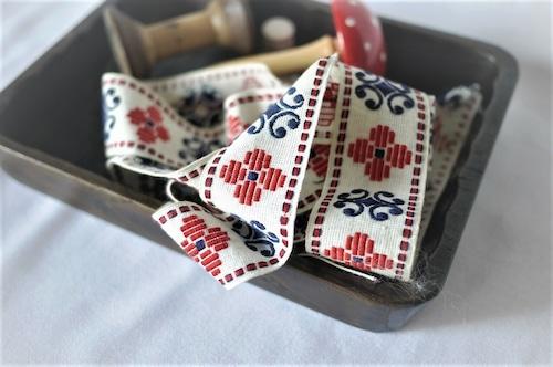 幾何学模様 民族衣装 チロルリボン 刺繍 リボン 4㎝幅175㎝
