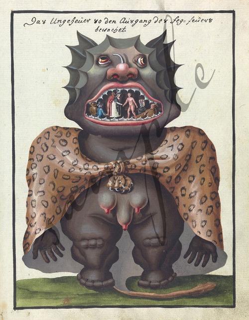 11世紀の魔術書よりユニークなモンスターのイラスト