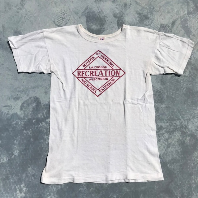 40's GENERAL ATHLETIC PRODUCTS Co 染み込みプリント Tシャツ ホワイト RECREATION Mサイズ 希少 ヴィンテージ