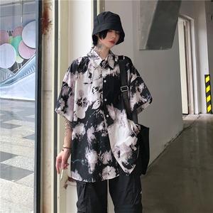 9008タイダイ染めシャツ レディーストップス ブラウス  シャツ 五分丈袖 カジュアル 男女兼用 メンズ
