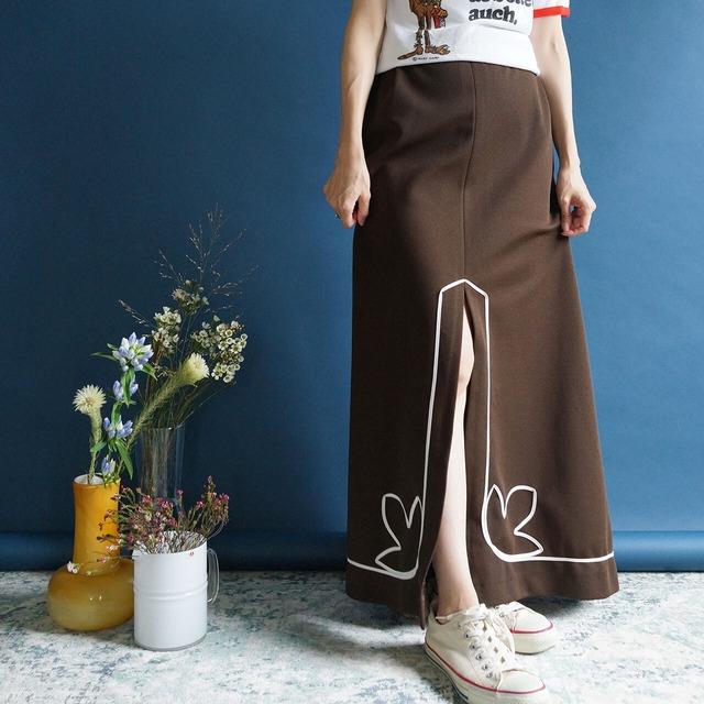 【送料無料】70's Vintage Brown High Waisted With Ivory Ribbon Front Slits Maxi Skirt