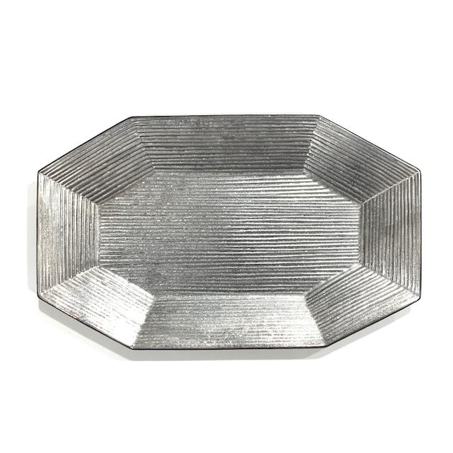 銀塗  八角プレート 27cm