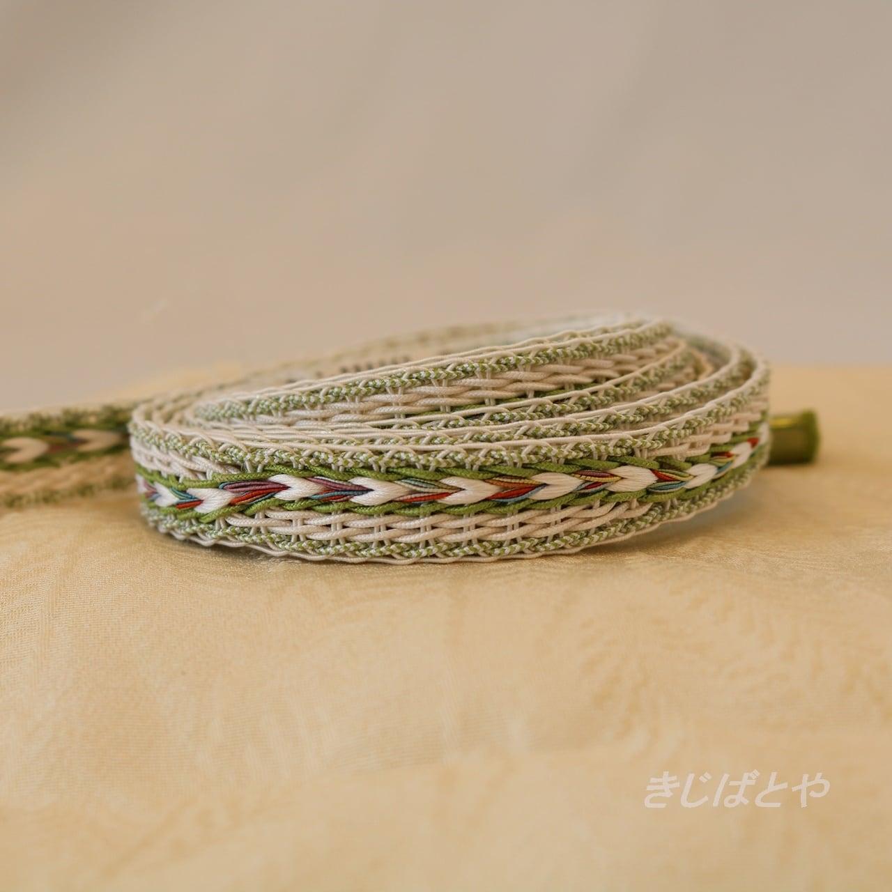 正絹 夏の帯締め 柳緑