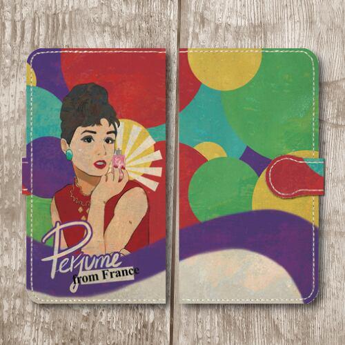 レトロポスター/アメリカンポップ/香水/ビンテージ調/レトロ/紫色/Androidスマホケース(手帳型ケース)
