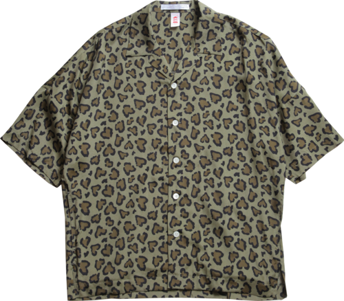 HEART LEOPARD CHILL SHIRTS-OLIVE