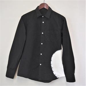 <OSOCU> Chita-momen shirt black right side circle shibori-some