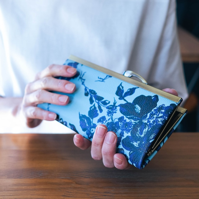 人気の7柄☆【秀和 x pink india】北欧デザイン 牛革がま口復刻長財布