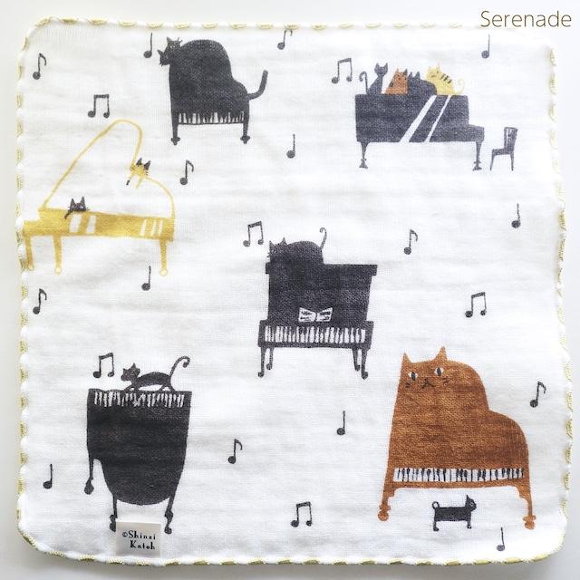 タオルハンカチ【コンセール】猫ピアノ