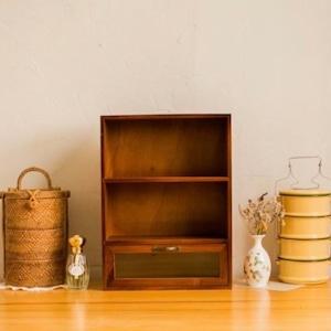 wood mini shelf C / アンティーク調 レトロ ウッド ミニ シェルフ 引き出し 収納 陳列 棚 韓国 北欧 雑貨