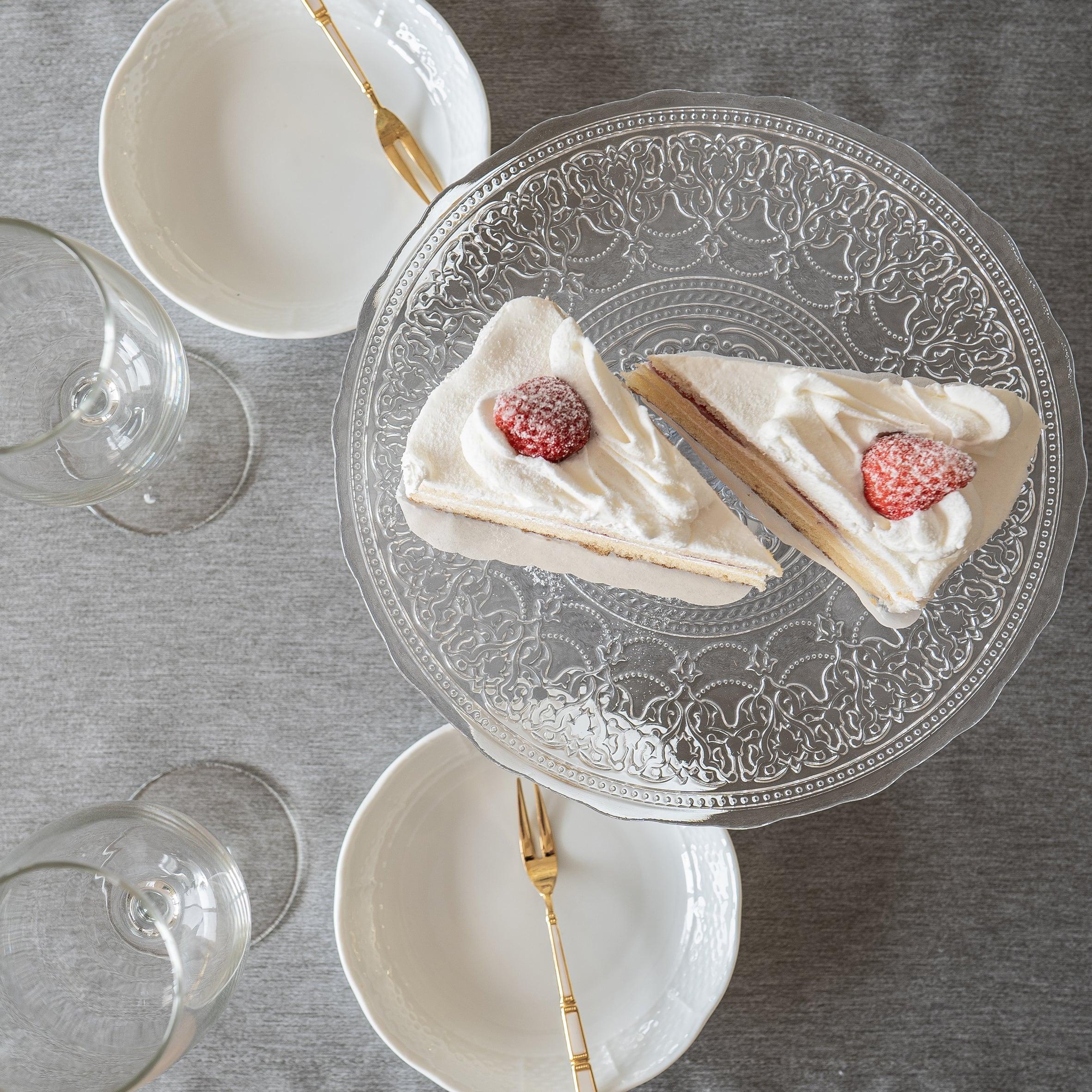 ケーキスタンド アラベスク柄ガラスケーキスタンド