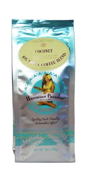 ココナッツ(挽き済みの粉) ハワイアンパラダイス(7oz 198g) ハワイコナコーヒー フレーバーコーヒー