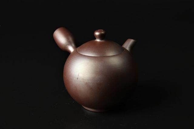 紫泥丸形無地急須 萬古焼(47037)(53009)