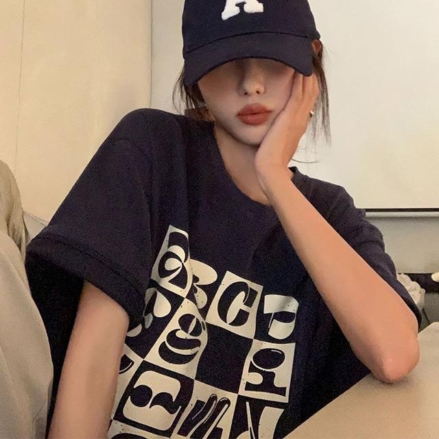 チェッカーボードプリントVネックTシャツ 3色 【210372】